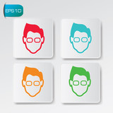 Geek avatar buttons,vector
