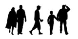 people walking outdoor silhouettes set 10