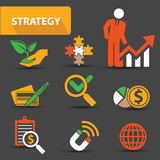 Strategy concept icons,vector