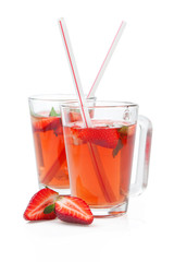 Drink with fresh strawberry