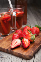 Fresh strawberries and strawberry drink