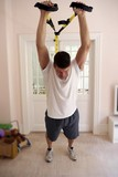 man excercising at home