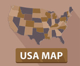 USA map,Brown version,vector