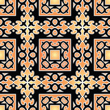 Beautiful seamless orange background with oriental pattern.