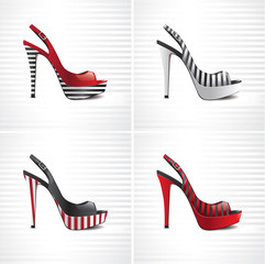 Set of four striped summer female shoes