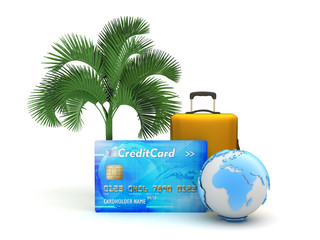 Credit card, travel bag, earth globe and palm tree