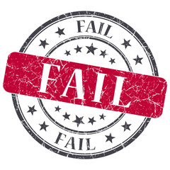 Fail red grungy round stamp on white background