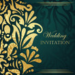 Wedding invitation with gold floral decoration