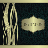 Stylish invitation with floral ribbons