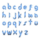 Spectral letters folded of paper ribbon-blue. Roman alphabet