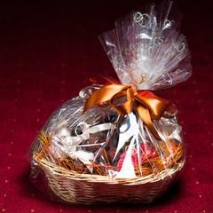 gift basket against red background