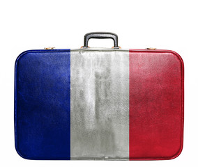 Vintage travel bag with flag of France