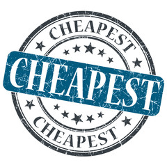 Cheapest blue grunge round stamp on white background