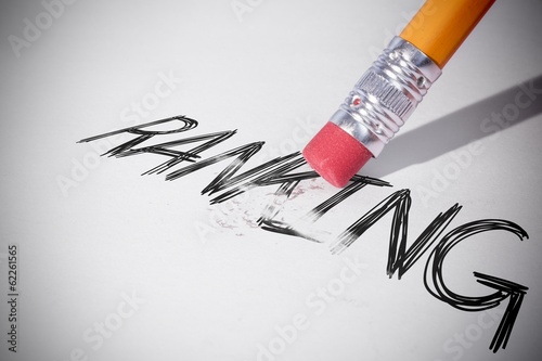 Pencil erasing the word Ranking