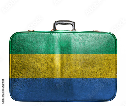 Vintage travel bag with flag of Gabon