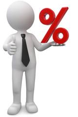 Männchen mit rotes Prozentsymbol