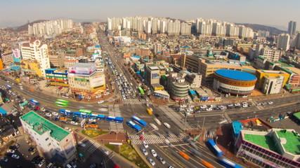 Seoul City Birds Eye Traffic and Architecture