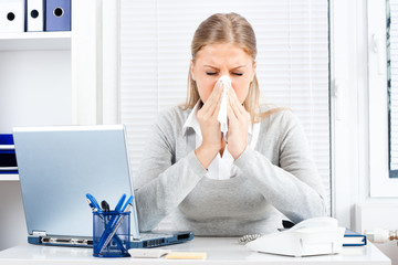 Businesswoman having flu