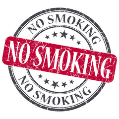 No Smoking red grunge round stamp on white background