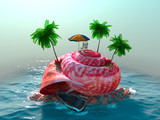 relaxing vacation concept background with seashell