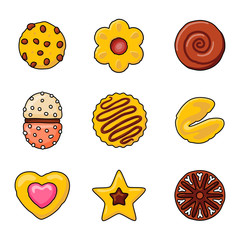 coffee cupcakes vector icon set