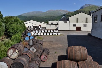Barrels at distillery