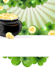 Pot of gold and shamrock clover