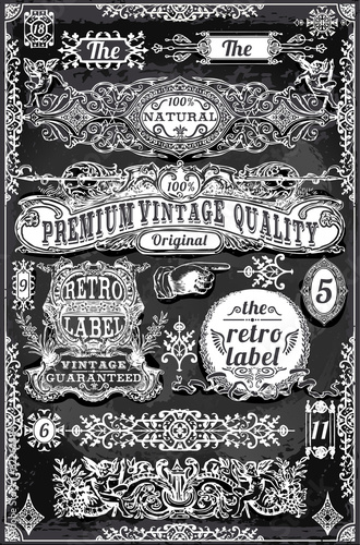 Vintage Hand Drawn Banners and Labels on Blackboard