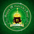 Card for St. Patrick's Day with text and pot with golden coins,