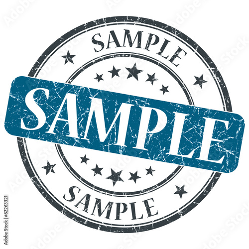 Sample blue grungy vintage round stamp