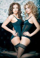 Two beautiful women in lingerie hugging on sofa