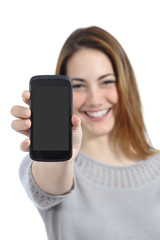 Funny woman showing a blank smart phone display