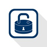 square blue icon open lock with long shadow