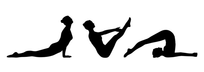 woman practicing yoga silhouettes set 4