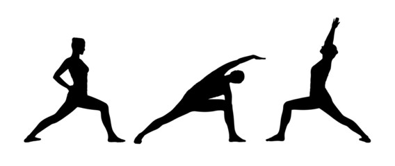 woman practicing yoga silhouettes set 3