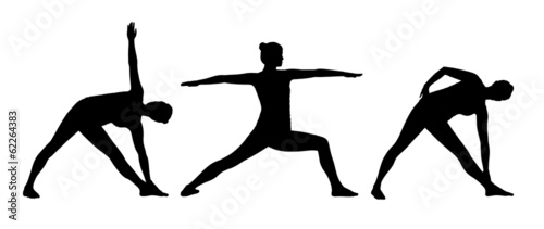 woman practicing yoga silhouettes set 2