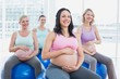Happy pregnant women sitting on exercise balls