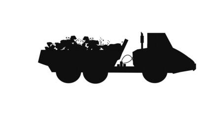 dump truck in silhouette