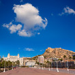 Alicante city and castle from port in Mediterranean spain
