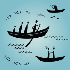 people floating in boats, ethnics, fishing
