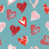 seamless gouache pattern of hearts