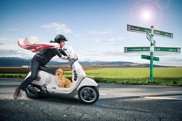 Scooter et chien