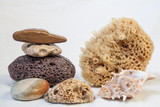 Sea sponge for bathing, pumice, sea stones.