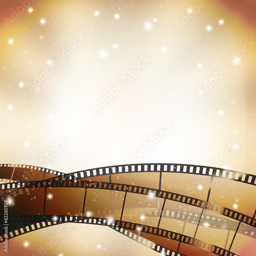 cinema background with retro filmstrip and stars