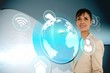 Businesswoman with earth and app interface