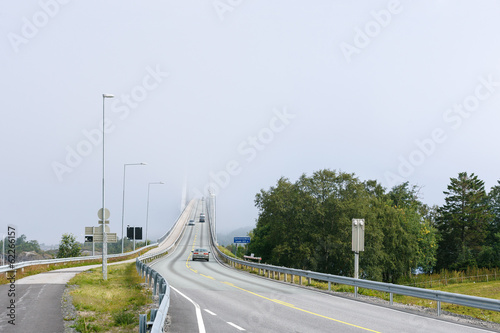 Bridge disappearing in fog
