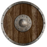 Medieval or vikings' wooden shield isolated on white