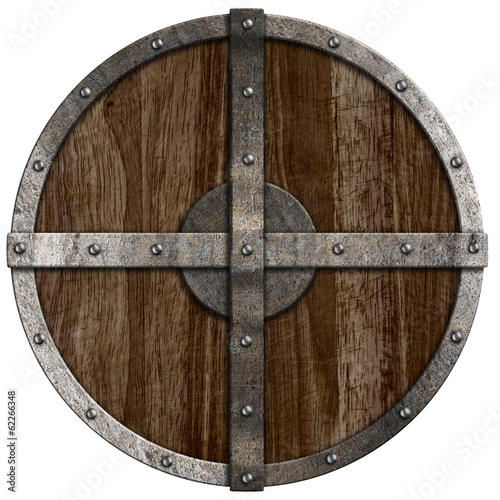 Medieval wooden shield isolated on white