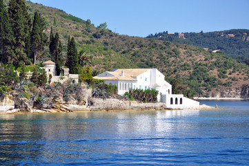 coast and beautiful house in Corfu, Greece, Europe