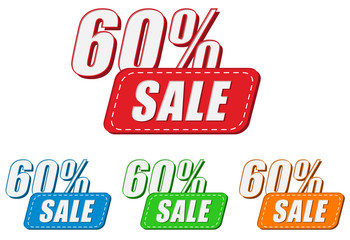 60 percentages sale, four colors labels